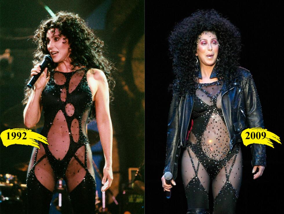 FØR OG NÅ: Man kan si hva man vil om det gjennomsiktige antrekket, men Cher holder seg fortsatt godt.  Foto: All over press