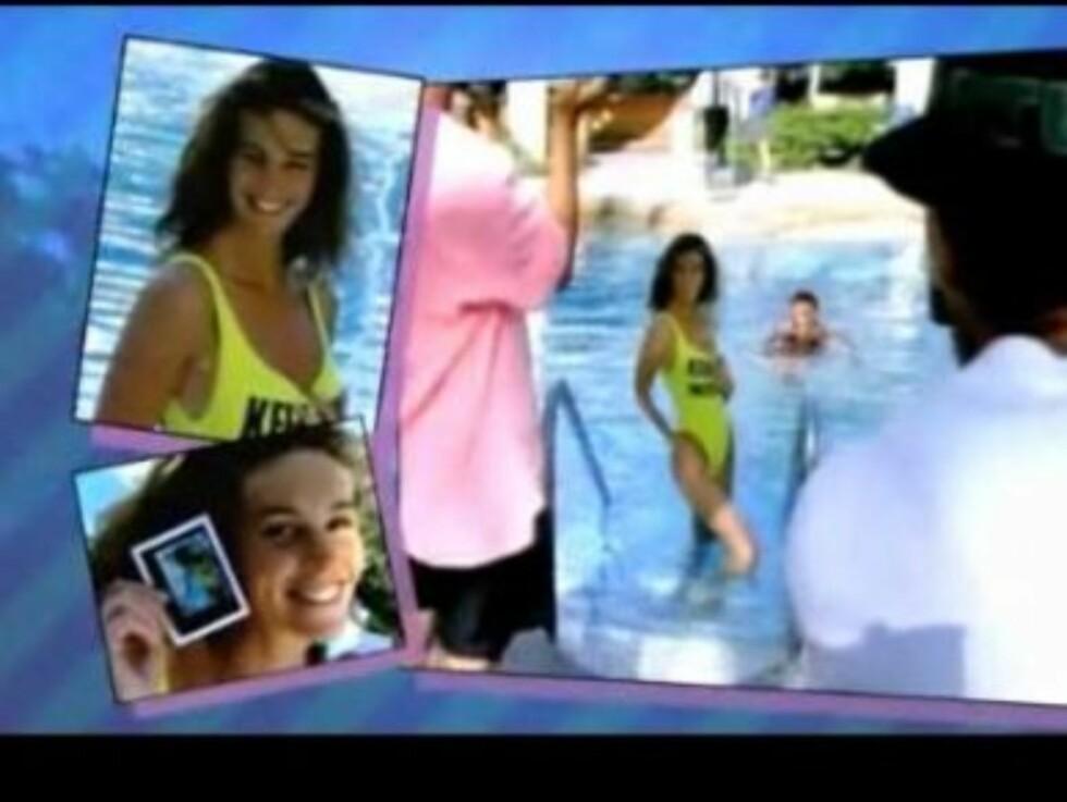 I BADEDRAKT: Elle Macpherson er en av de mange stjernene i de nye reklamefilmene til Aviva. Se videoen nederst i saken! Foto: YouTube