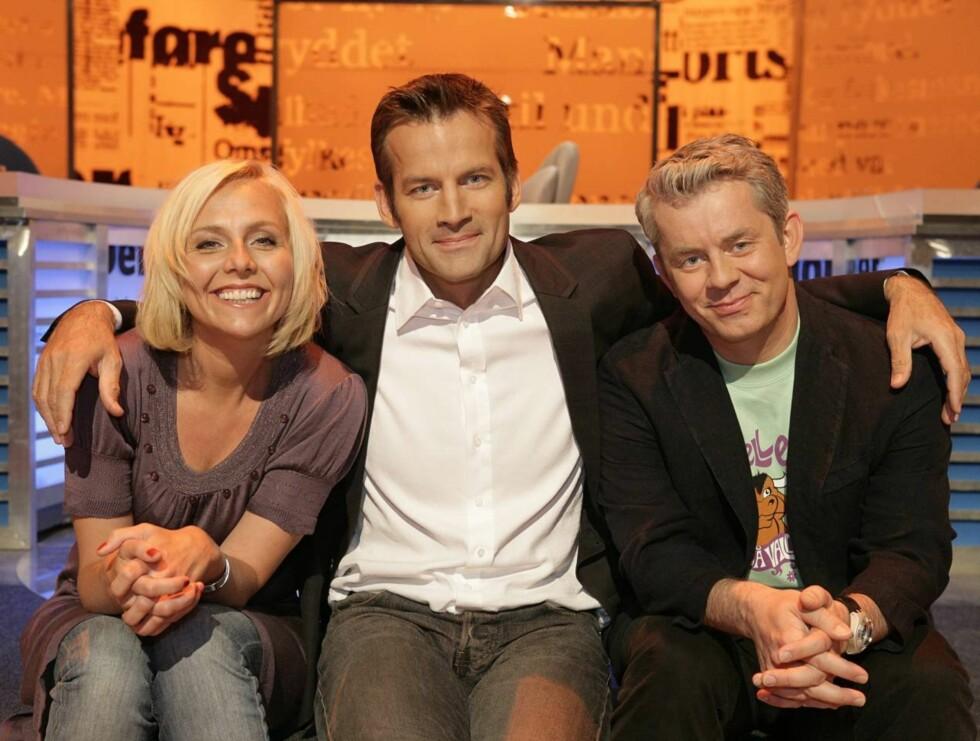 MEST SETT OG BEST LIKT: Linn Skåber, Jon Almaas og Knut Nærum er de som folket helst inviterer hjem i stuen en fredagskveld. Foto: Anne Liv Ekroll, NRK