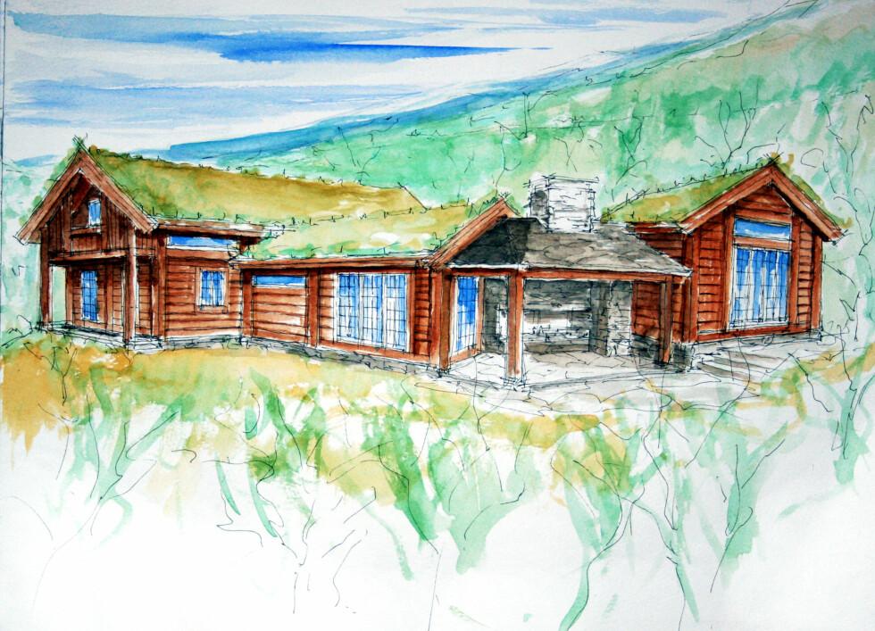 DRØMMEHYTTE: Slik blir hytta. Arkitekt Sandaas har tegnet Se og Hørs hytte for kreftsyke barn. Mange gode krefter har realisert planene!