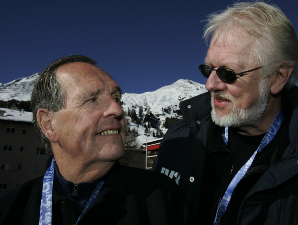 PARHESTER: Kjell Kristian Rike og Jon Herwig Carlsen kommenterte fra OL i Torino. Foto: SCANPIX