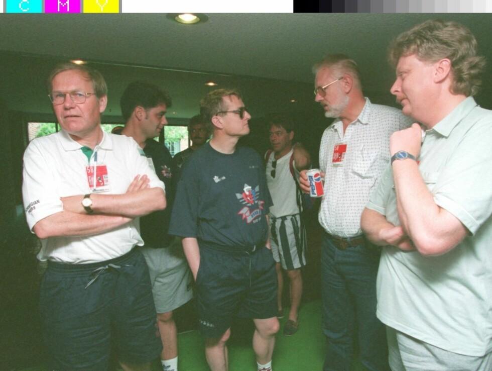 VM: Fra fotball-VM i USA i 1994. Fra venstre: Arne Scheie, Kjell Kristian Rike og Tor Eggen.   Foto: Scanpix
