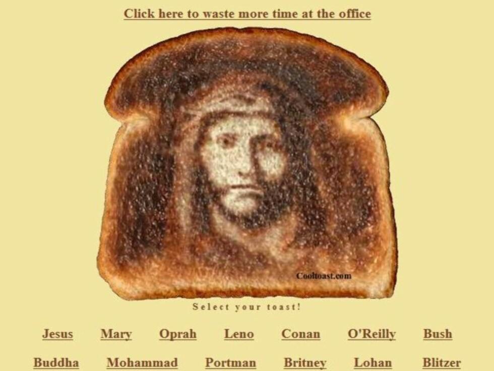 ET MIRAKEL?: Jesus Kristus pryder ei skive loff på Cooltoasts.com. Foto: Cooltoasts.com.