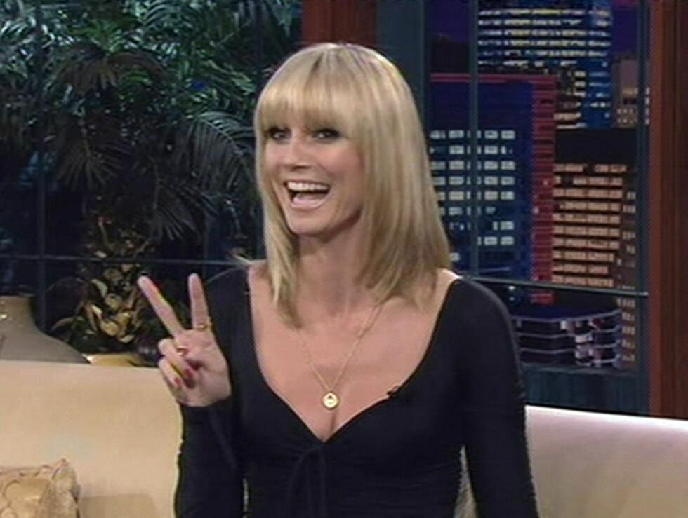 I STUA TIL LENO: Heidi Klum tar pusten fra de fleste. I stua til Jay Leno, var hun som vanlig i storform.   Foto: All Over Press