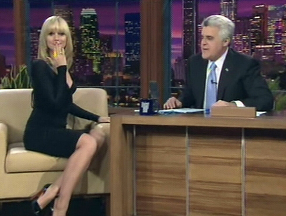 HOS LENO: Opplagt supermodell i et av Amerikas mest populære talkshows.  Foto: All Over Press
