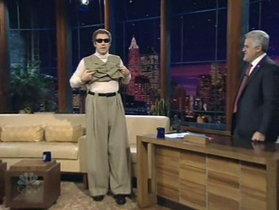 VISER SEG FREM: Will Ferrell med solbriller hos Leno.  Foto: All Over Press