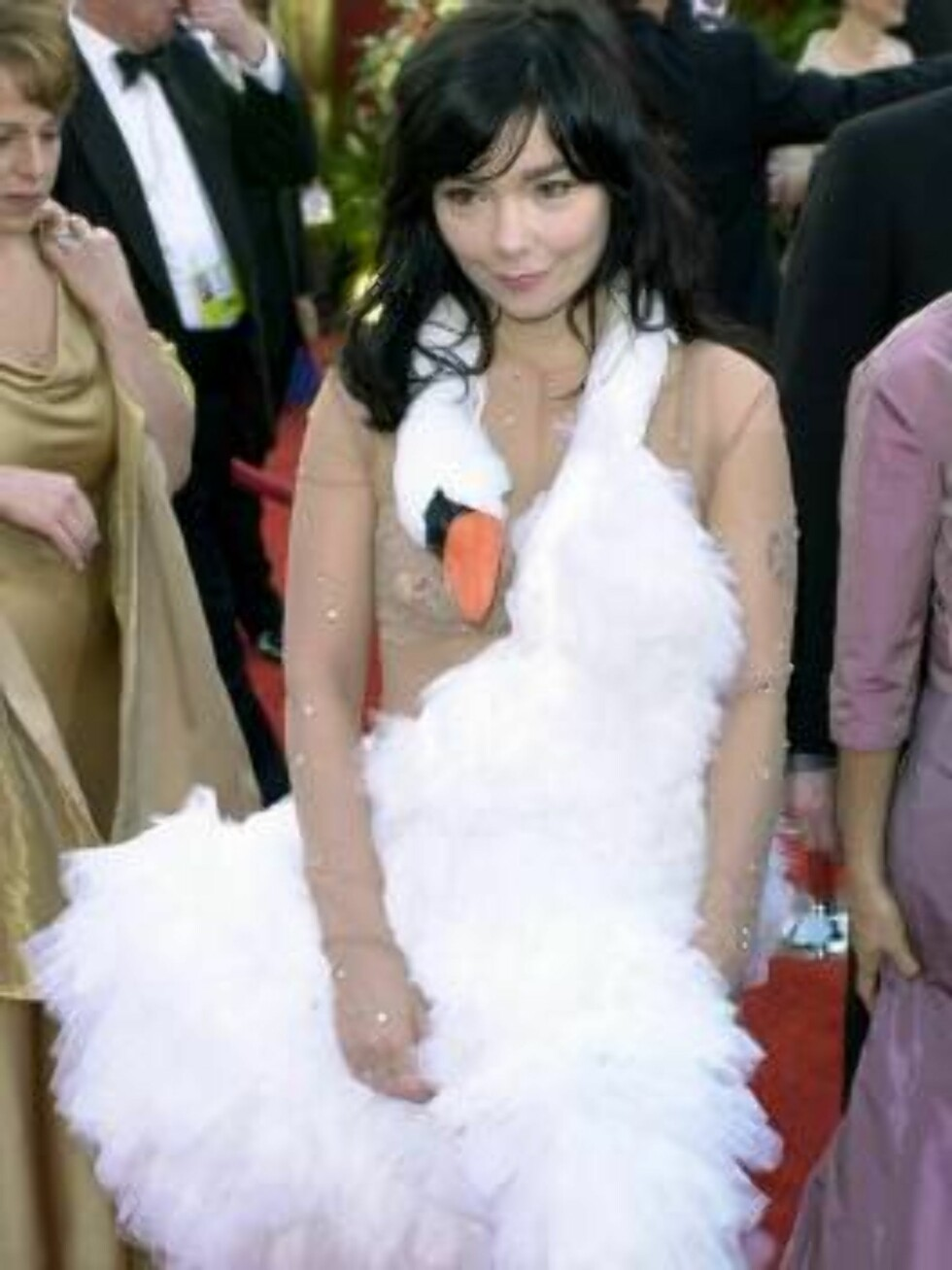 ** FILE ** Singer Bjork, wearing a Marjan Pejoski swan gown, arrives at the 73rd annual Academy Awards in this file picture taken March 25, 2001, in Los Angeles. Some 6,000 readers of the BBC's Homes & Antiques magazine voted the Islandic singer the world Foto: AP