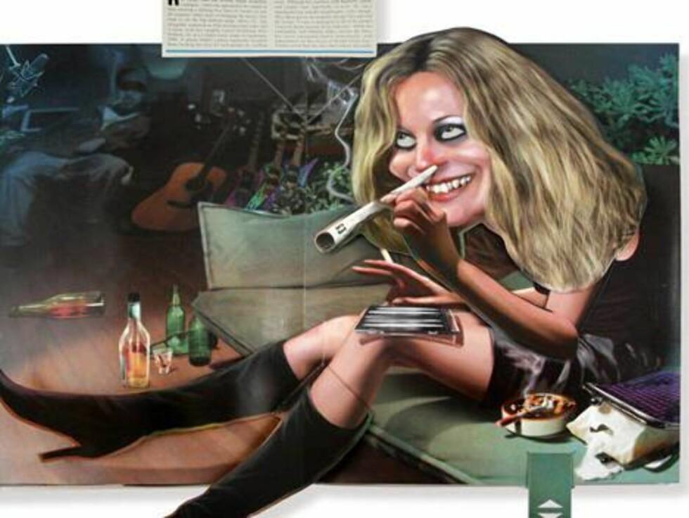 SKANDALE: Supermodellen Kate Moss ble i 2005 avslørt av Daily Mirror mens hun misbrukte kokain i et platestudio. Dette er en karikatur. Foto: All Over Press