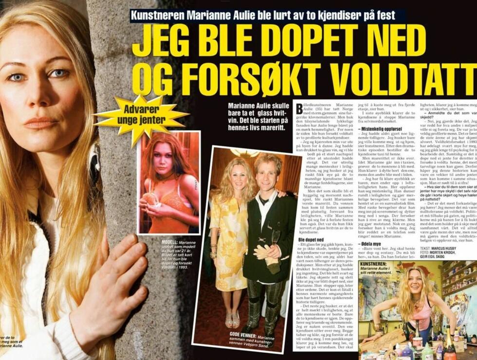 I HARDT VÆR: Aulie forårsaket mediestorm etter at hun navnga to kjendiser som skal ha forsøkt å voldta henne. Foto: Faksimile Se og Hør