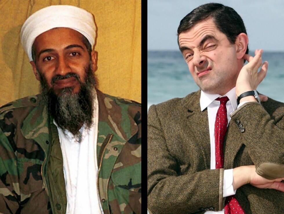 SKETSJ: Osama Bin Laden og Rowan Atkinson som Mr. Bean er ikke helt ulike, eller hva? Foto: AP/Scanpix