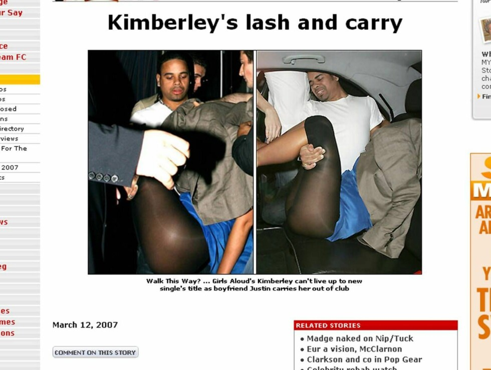 FÅ MEG HJEM: Justin Scott hadde sin fulle hyre med å få Kimberley hjem etter en fuktig natt på byen. Foto: faksimilie Sun