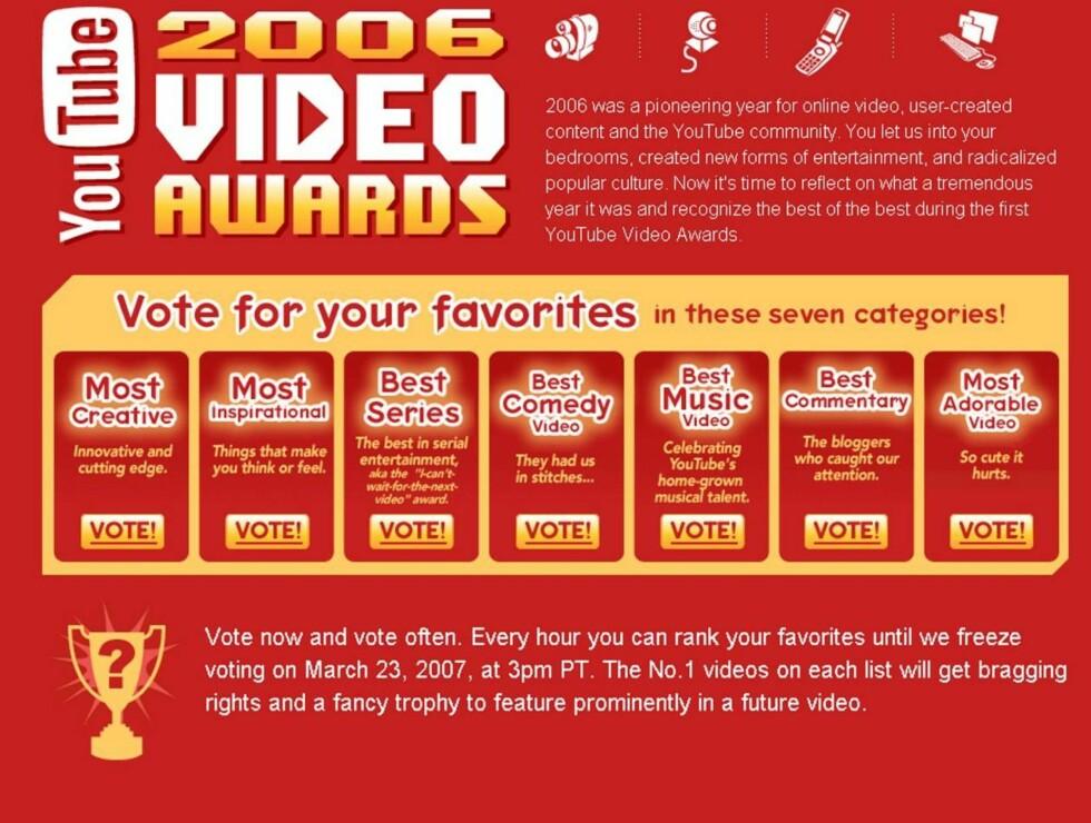 KONKURRANSE: Dere slapp oss inn på soverommene deres, skapte en ny form for underholdning og revolusjonerte populærkulturen. Nå er det på tide å reflektere over det fantastiske året som har gått, skriver YouTube Video Awards. Foto: YouTube.com