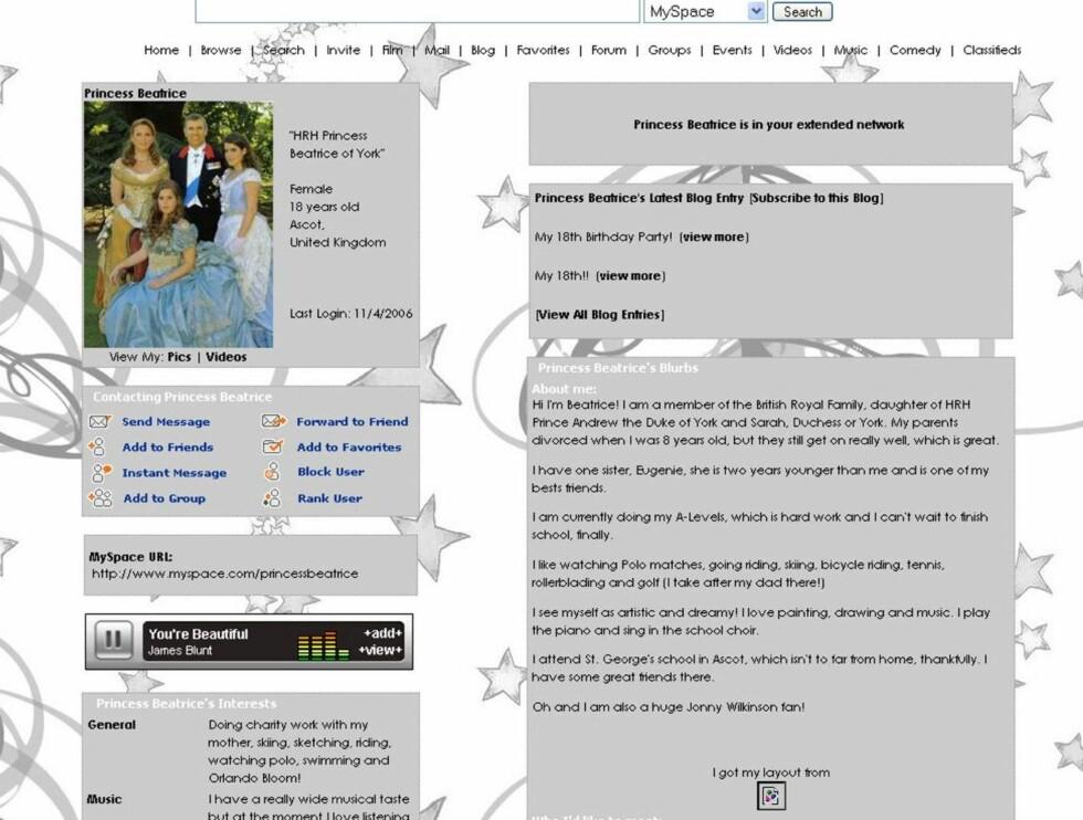 "PROFIL: Ifølge Hello er dette prinsesse Beatrices ekte MySpace-side. Her spiller hun James Blunt og forteller om sin forkjærlighet til ""Frustrerte fruer"". Foto: MySpace.com"