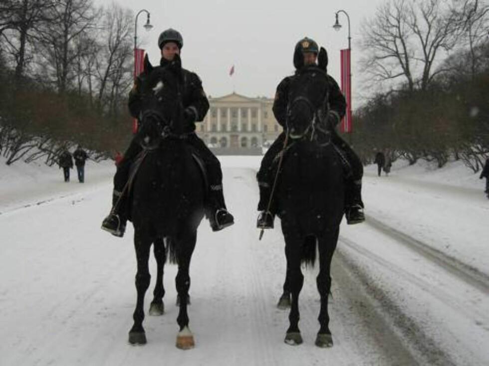SILKESVARTEN: Det Ridende Politi var på plass, og bidro til et stemningsfylt bilde av Slottet i snøen. Foto: Seher.no, Sølvi Jeppesen Raast