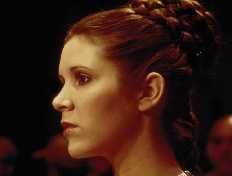 """SMUKK: Carrie Fisher har vært en våt drøm for mange siden hun for første gang spilte prinsesse Leia i """"Star Wars"""" i 1977. Foto: Filmweb"""
