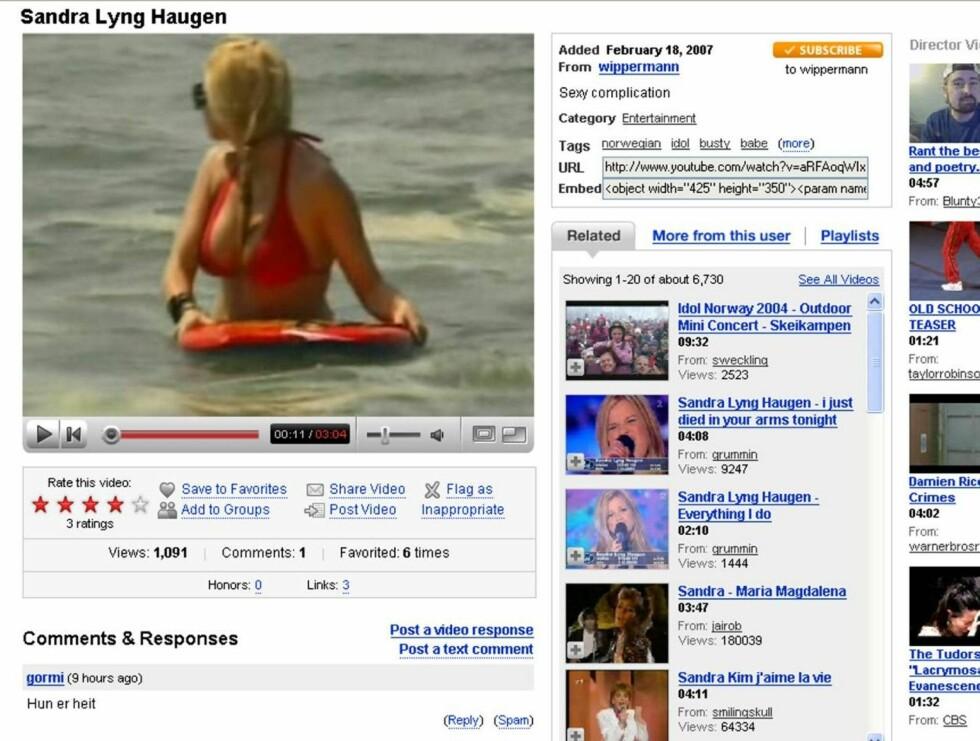 FREKK: Det er Sandra som leker seg i sjøen iført i bikini som blant annet blir vist i klippet. Foto: YouTube