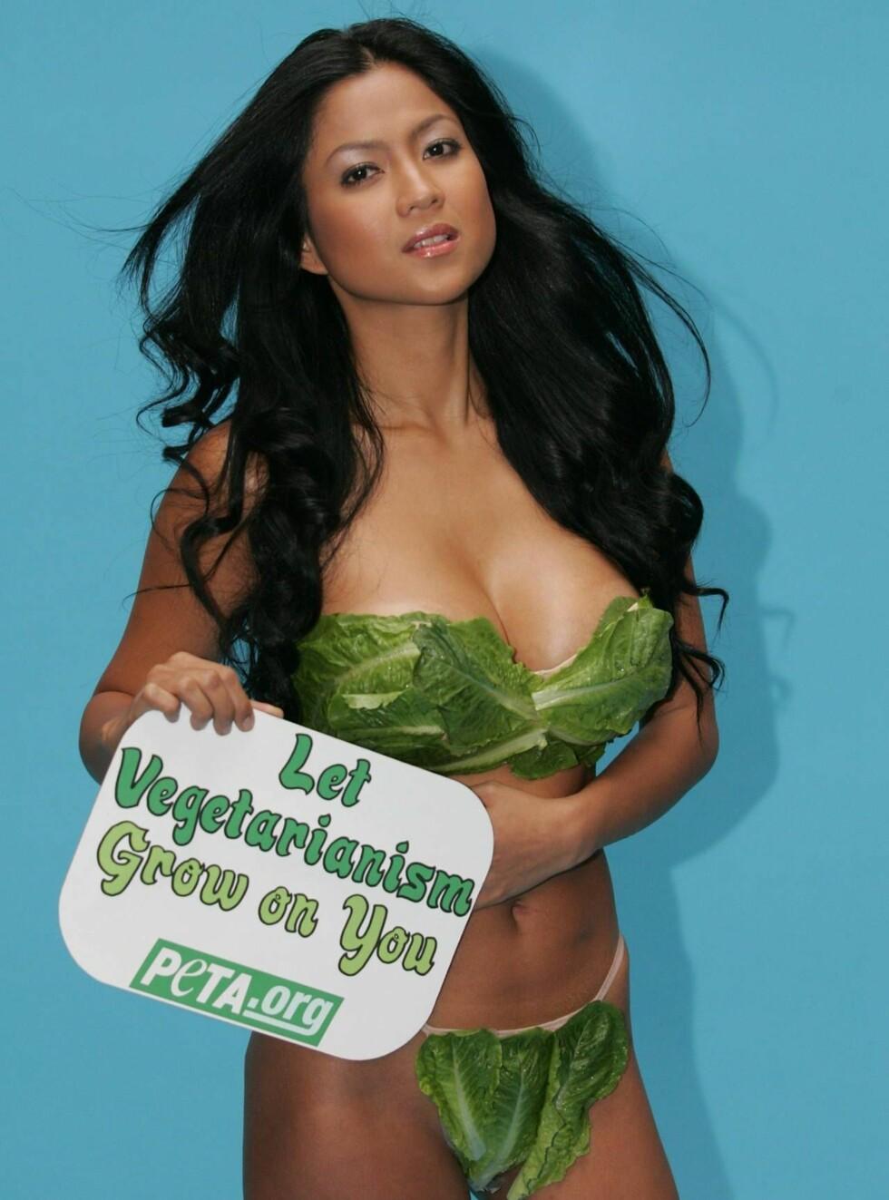 JA TIL VEGGIS_LIV: Den filipinske skuespillerinnen og modellen Alicia Mayer synes grønt er skjønt. Foto: AP