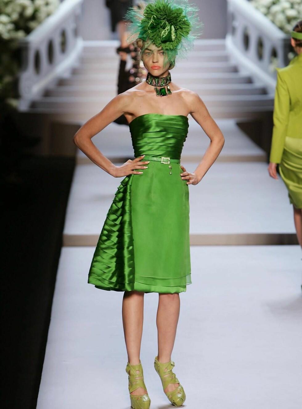 GRØNT ER SKJØNT: Kanskje dukker Mischa opp i denne flotte kjolen fra Dior på neste filmpremiere? Foto: Stella Pictures
