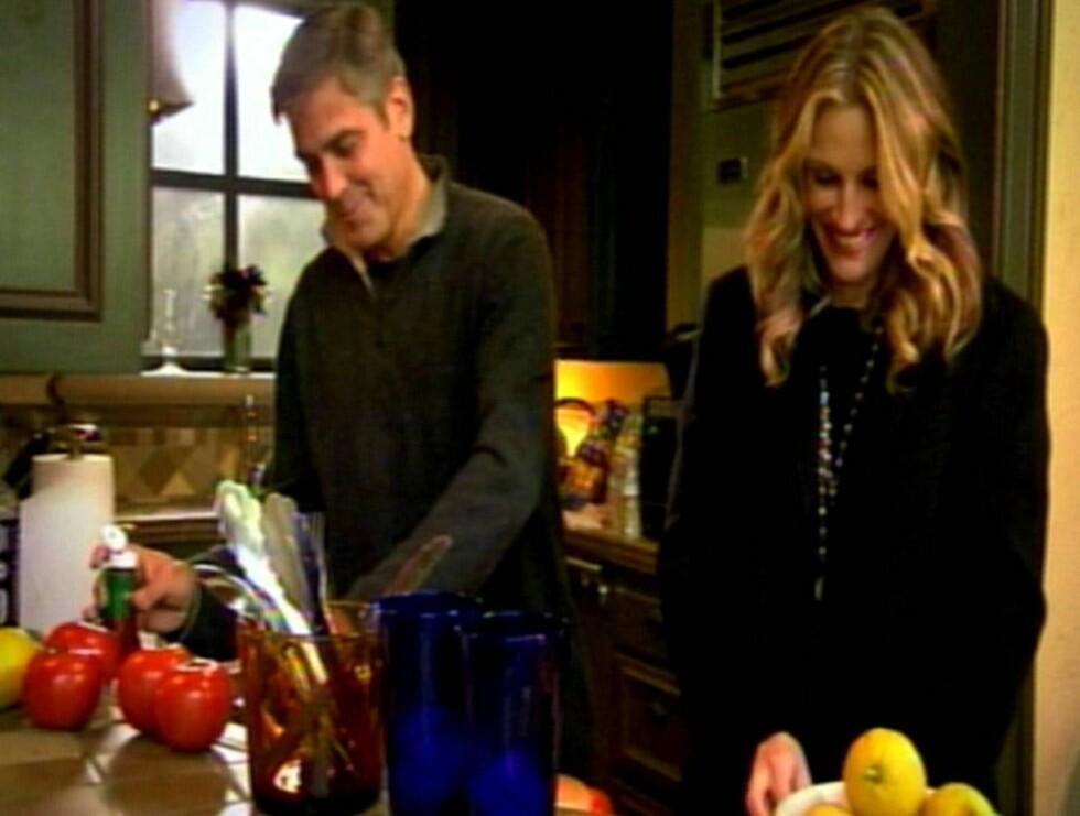 """GODE VENNER: I """"Oprah""""s Oscarspesial får vi se kokkeferdighetene til venneparet Julia Roberts og George Clooney. Foto: All Over Press"""