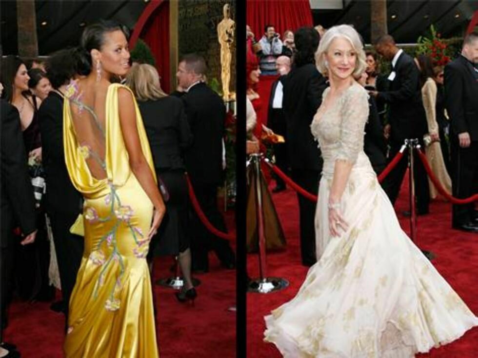 KJOLER: Keisha Whitaker, kona til Oscar-vinner Forest Whitaker i en knallgul silekjole med åpen rygg. Vinner Helen Mirren med en litt mer dekkende finstas. Foto: AP/Scanpix