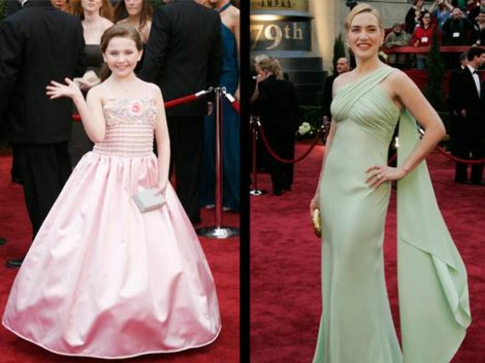 KJOLER: Den ti år gamle Oscar-nominerte Abigail Breslin kjørte rosa, mens skuespillerkollega Kate Winslet satset på en enkel mintgrønn pryd. Foto: AP/Scanpix