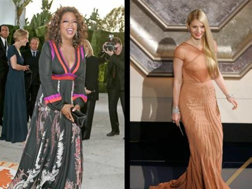 KJOLER: Talk show-dronning Oprah Winfrey i en fargerik kjole på Oscar-showets førfest, tidligere Oscar-vinner Gwyneth Paltrow i en lekkerfinstas. Foto: AP/Scanpix