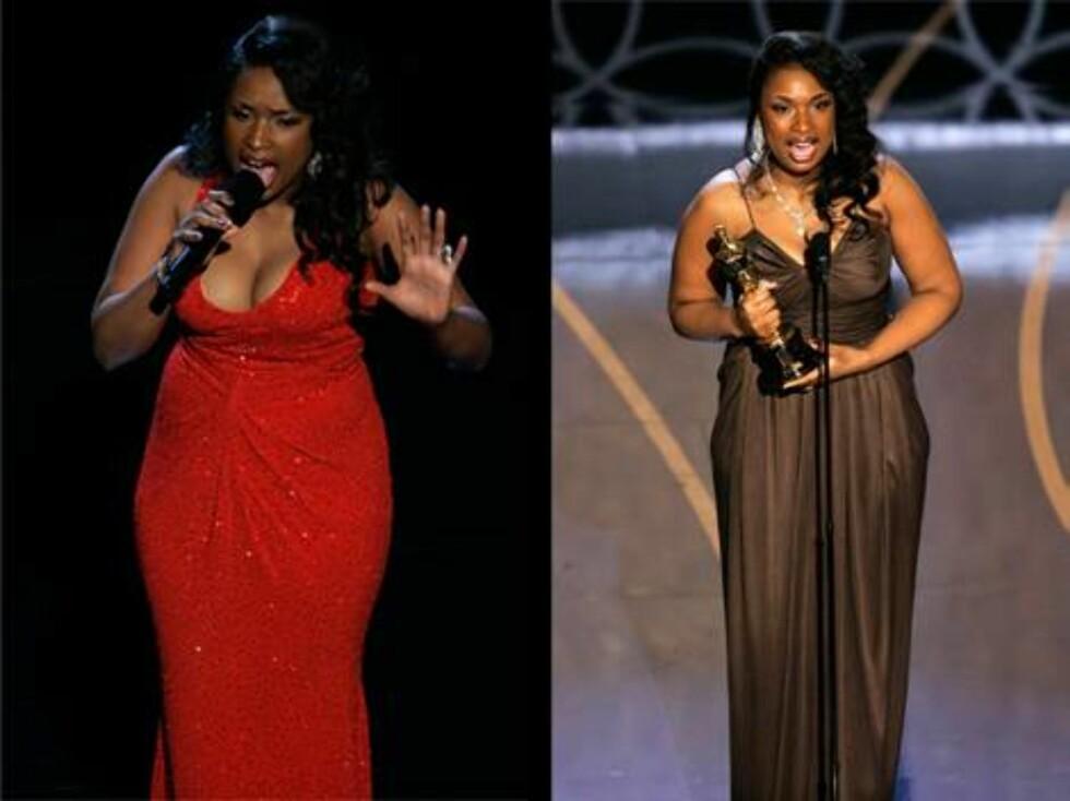 """KJOLER: Jennifer Hudson vant en Oscar for beste kvinnelige birolle. Hun skiftet antrekk to ganger i natt, den røde kjolen brukte hun da hun fremførte en sang fra """"Dreamgirls"""". Foto: AP/Scanpix"""