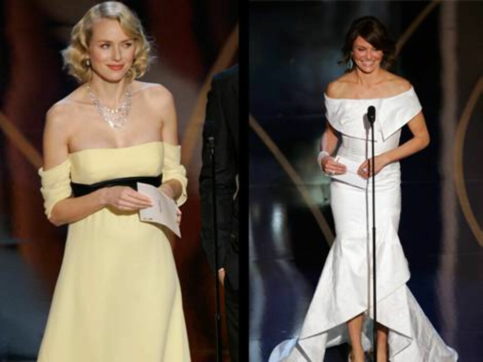 KJOLER: Gravide Naomi Watts brukte en kremgul og stroppeløs kjole, mens kollega Cameron Diaz kjørte på med en kritthvit og tung kjole.  Foto: AP/Scanpix