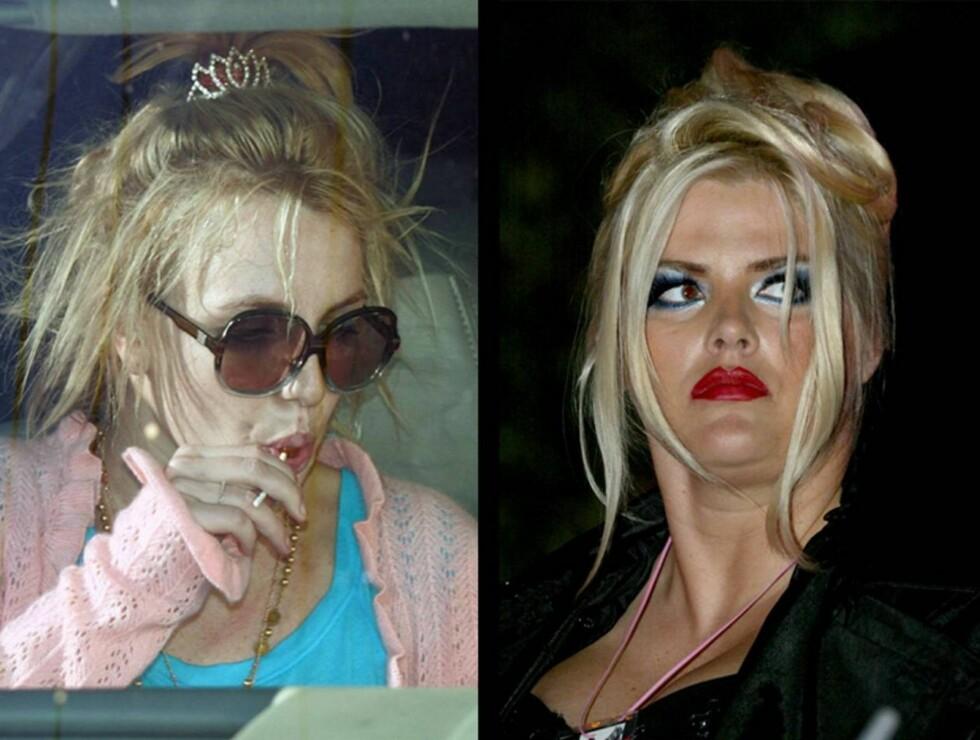 LIKHET: Britney Spears har gjennomgått en voldsom forandring det siste året, og er nå innlagt på rehab. Anna Nicole Smith døde nylig av det som trolig var en overdose tabletter. Foto: AP/Scanpix