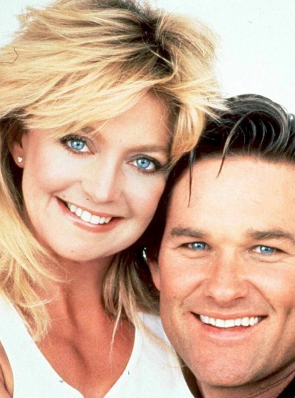 MED SMINKE: Slik er vi vant til å se Goldie Hawn. Her sammen med kjæresten Kurt Russell! Foto: SCANPIX