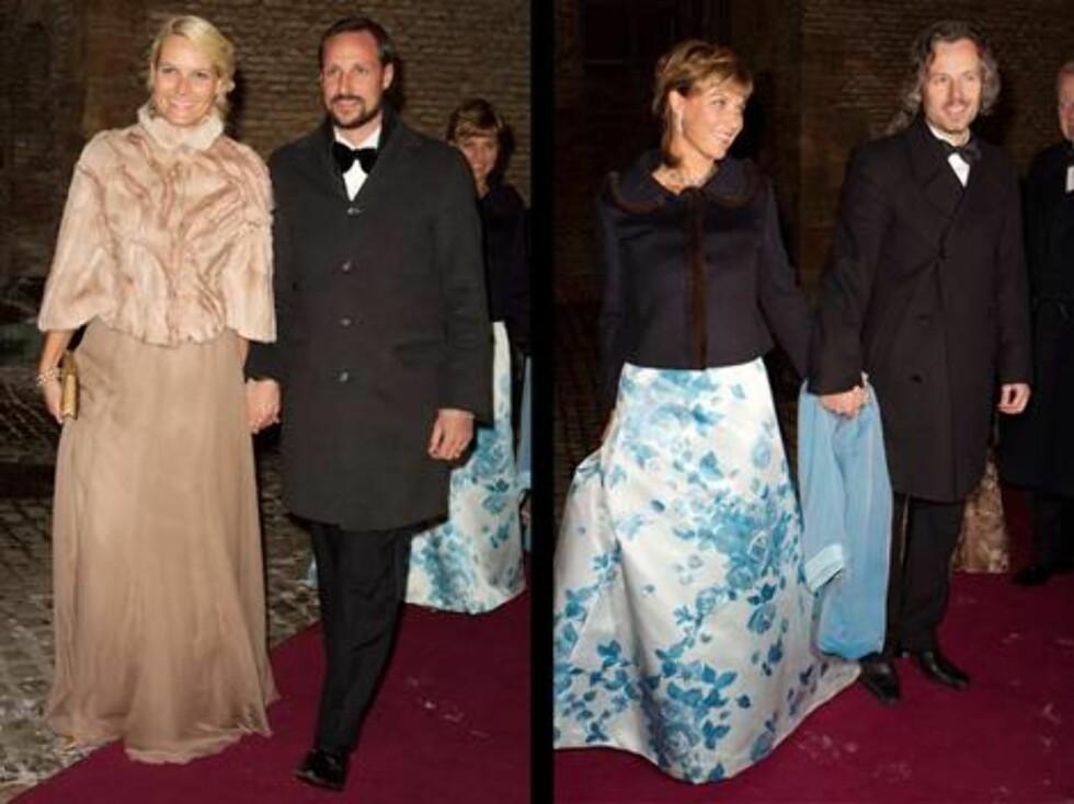 LANG KJOLE: Kronprinsesse Mette-Marit strålte i en vakker pelstopp da hun ankom Akershus  Prinsesse Märtha hadde valgt en kjole med blå roser.  Foto: Se og Hør