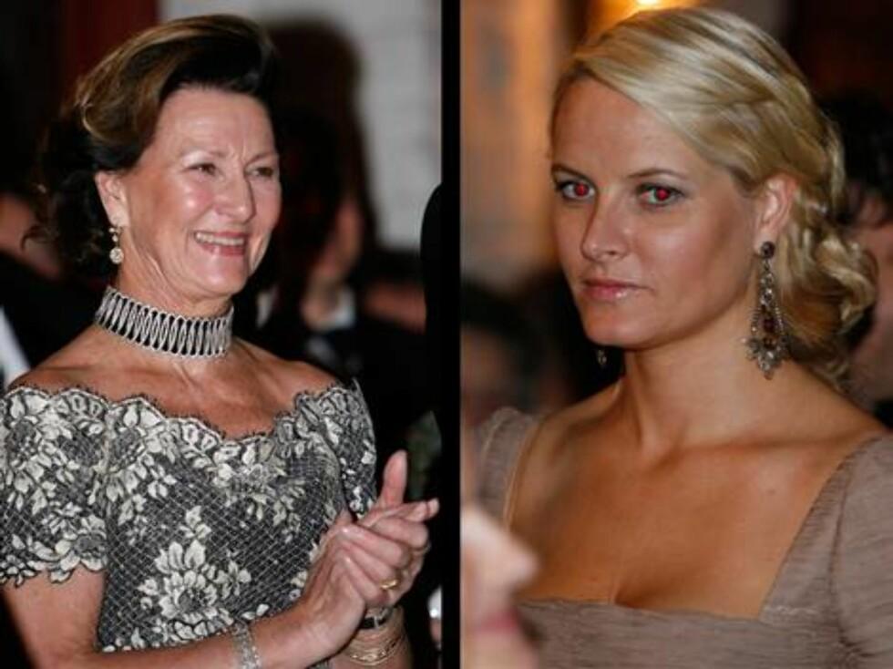 VAKKER: Kronprinsesse Mette-Marit hadde valgt store øredobber i anledning Kongens 70-årsfeiring. Og Dronning Sonja smilte fra øre til øre hele kvelden. Foto: Se og Hør