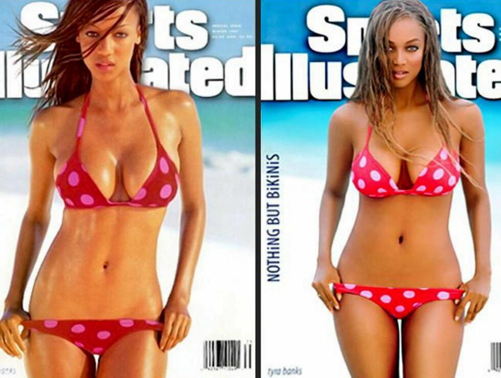 FORSIDE: En 23 år gammel Tyra Banks (t.v) prydet forsiden av Sports Illustrated for ti år siden. Nå gjør hun det samme. Ser du forskjellen? Foto: Faksimile