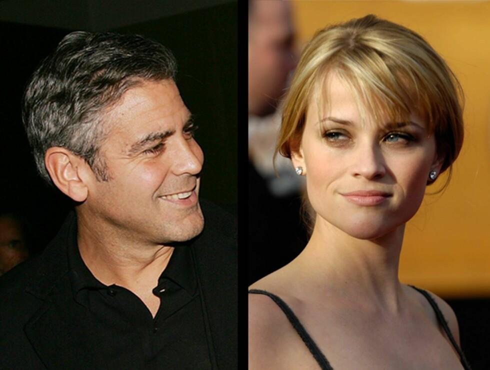 NYTT PAR?: Ifølge venner av George Clooney gikk det et par måneder før han turde å invitere med seg Reese Witherspoon på date. Foto: AP/Scanpix