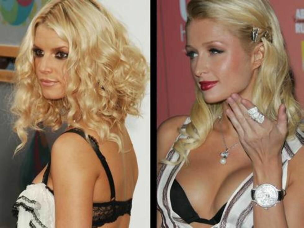 FULL PUPP: De er ikke helt ulike, Jessica Simpson og Paris Hilton. For dem er det sorte BH-er som gjelder. Foto: Stella Pictures