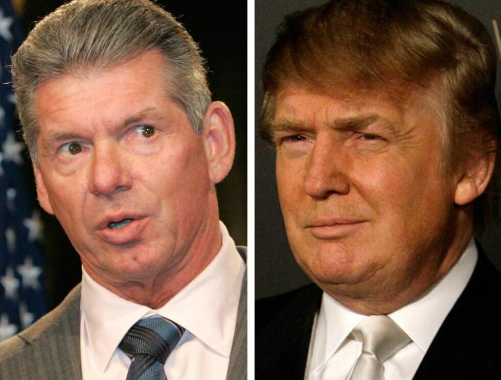 HVEM MÅ BARBERES?: Vince McMahon og Donald Trump risikerer å miste håret. Foto: AP