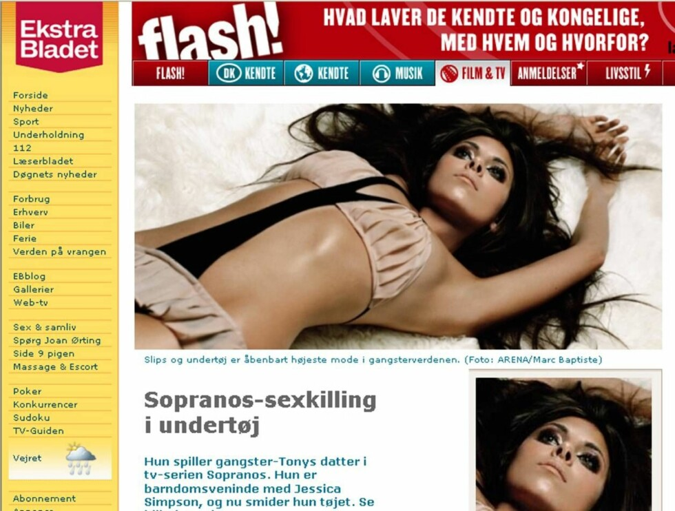 """FLOTT: Dette er bare et av de flotte bildene av """"Sopranos""""-stjernen i Arena ... Foto: Skjermdump, Ekstrabladet.dk"""