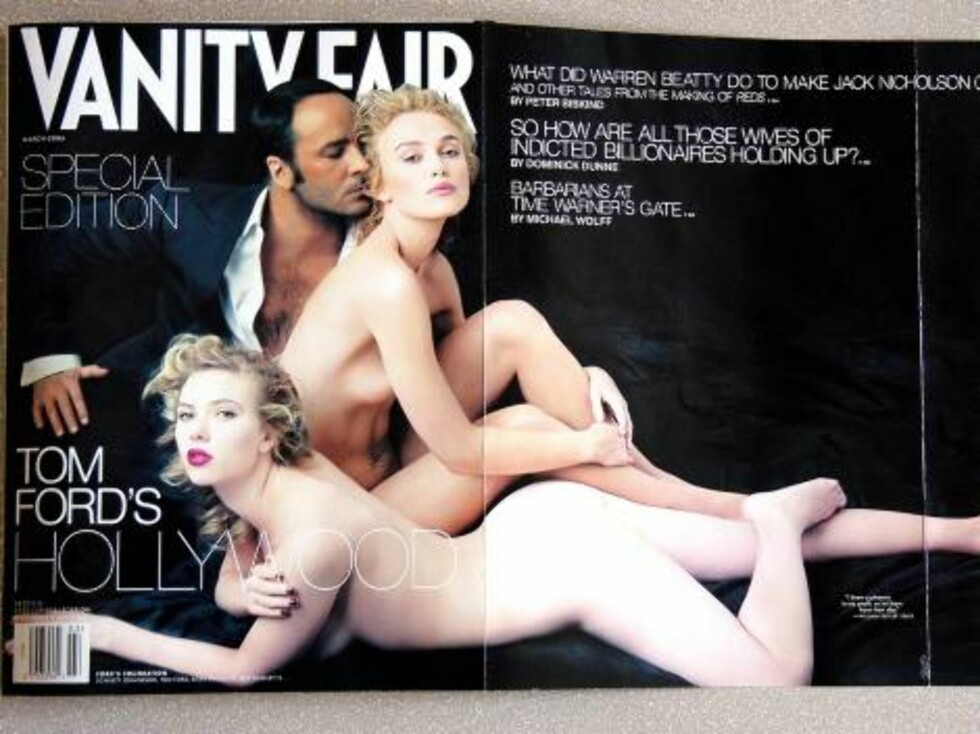 US actress Scarlett Johansson (front) and British actress Keira Knightley pose nude with US fashion designer Tom Ford under the eye of star photographer Annie Leibowitz for the cover of Vanity Fair magazine's yearly Hollywood issue to be released Wednesda Foto: Stella Pictures