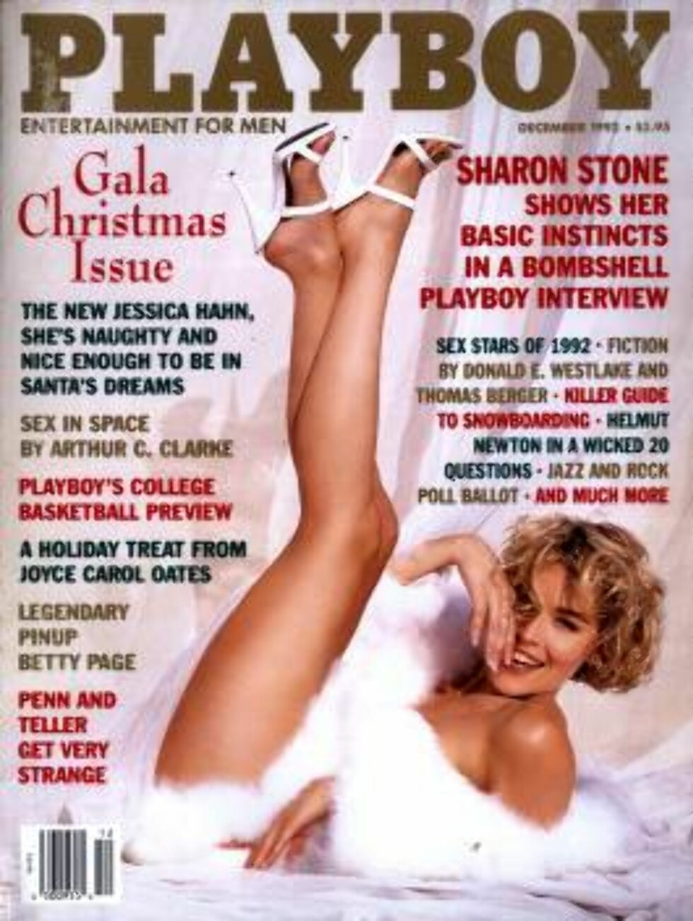 AVKLEDD: Sharon Stone i en frekk Playboy-positur. Foto: AP/Scanpix
