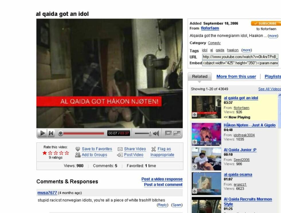 """SKREMMENDE: I videoen som nå ligger på YouTube, kan man se en falsk Håkon Njøten sitte bakbundet. Flere ganger blir det gjentatt at den tidligere """"Idol""""-deltageren skal drepes. Foto: YouTube"""
