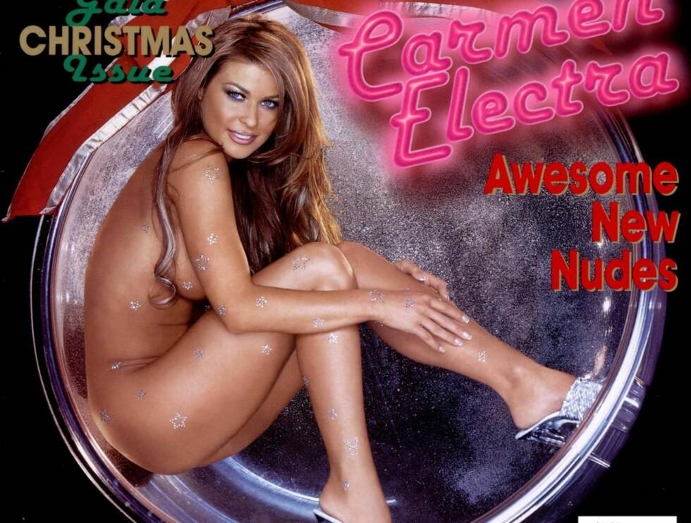 """AVKLEDD: Playboy har nesten aldri solgt så godt som da """"Baywatch""""-baben Carmen Electra stilte opp kun iført diamanter på forsiden deres ... Foto: Stella Pictures"""