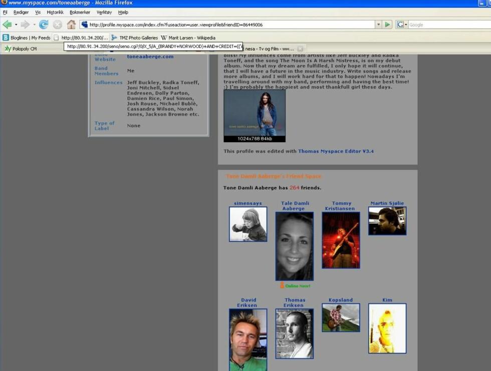JASSÅ: Tone har flyttet Simen helt til topps av vennelisten sin på MySpace. Nå er det alvor! Foto: Screenshot