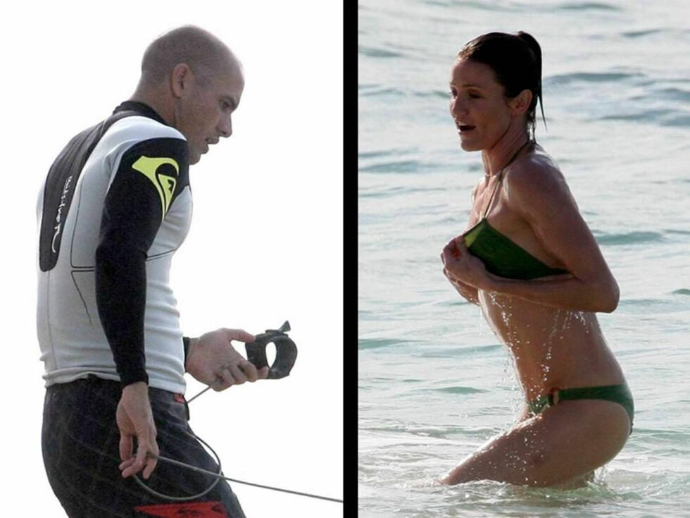 BØLGEMORO: Kelly Slater og Cameron Diaz nyter den romantiske ferien på Hawaii.