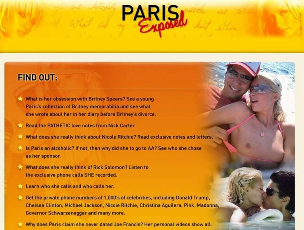 MYE PÅ LAGER: Nettsiden viser alt fra hjemmeporno til barnebilder og dagbøker - alt fra Paris eget lager. Foto: parisexposed.com