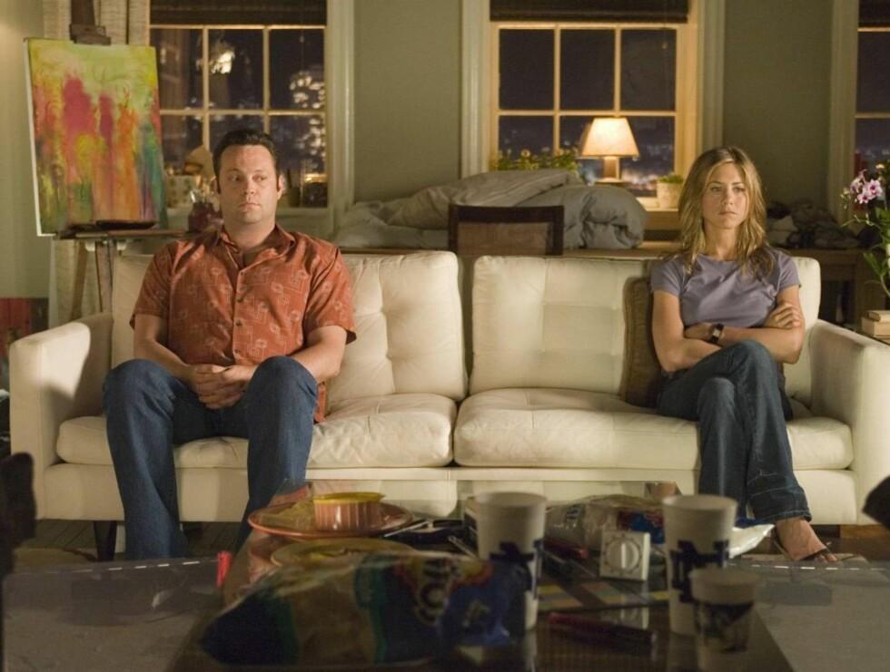 """BRUDD: Jennifer og Vince Vaughn gjorde det slutt i desember i fjor. Dette har virkelig satt sitt preg på Aniston. Her er de sammen i filmen """"The Break-Up"""". Foto: Filmweb"""