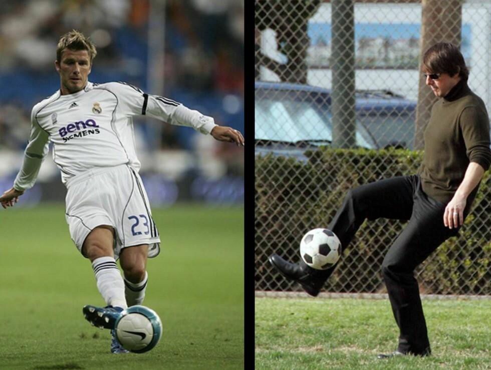 VELKOMMEN TIL L.A.: David Beckham kan se fram til treningskamper på løkka med sin nye kamerat Tom Cruise, når han flytter til Los Angeles.