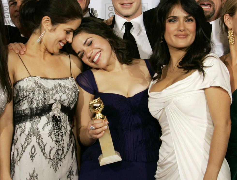 """VANT: Under Golden Globe vant Hayek pris for beste komiserie med """"Ugly Bety"""".. Foto: AP"""