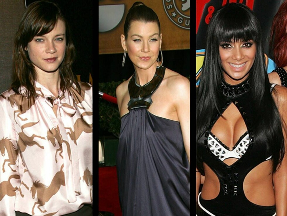 "STILLØSE?: Amy Smart, Ellen Pompeo og ""Pussycat""-Nicole overrasket mange med sine valg av antrekk denne måneden. Hvilket syns du er verst? Foto: All Over Press"