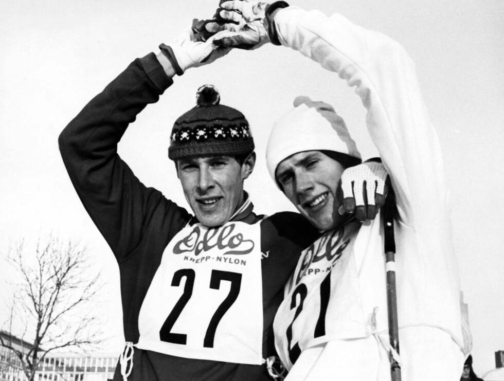 Gamle venner: Langrennsjuniorene Ivar Formo (t.v) og Oddvar Brå etter et møte i Monolittrennet i Oslo i 1970. Foto: SCANPIX