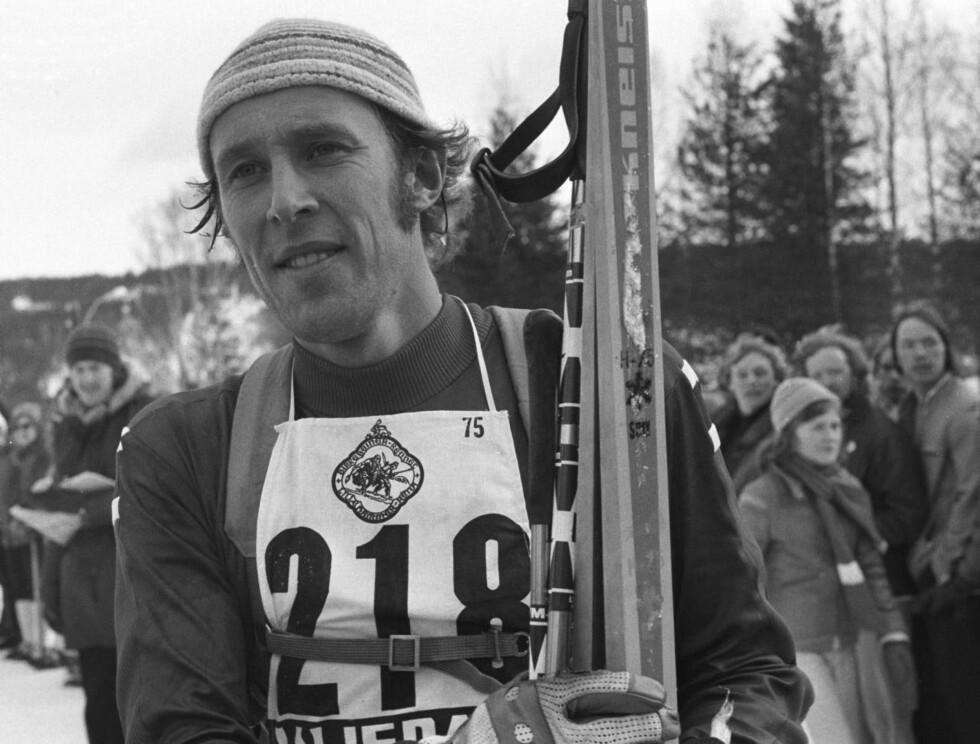 GOD PÅ SKI: Ivar Formoe vant fire OL-medaljer. Her er han avbildet på Rena etter Birkebeinerrennet i 1975. Foto: Scanpix